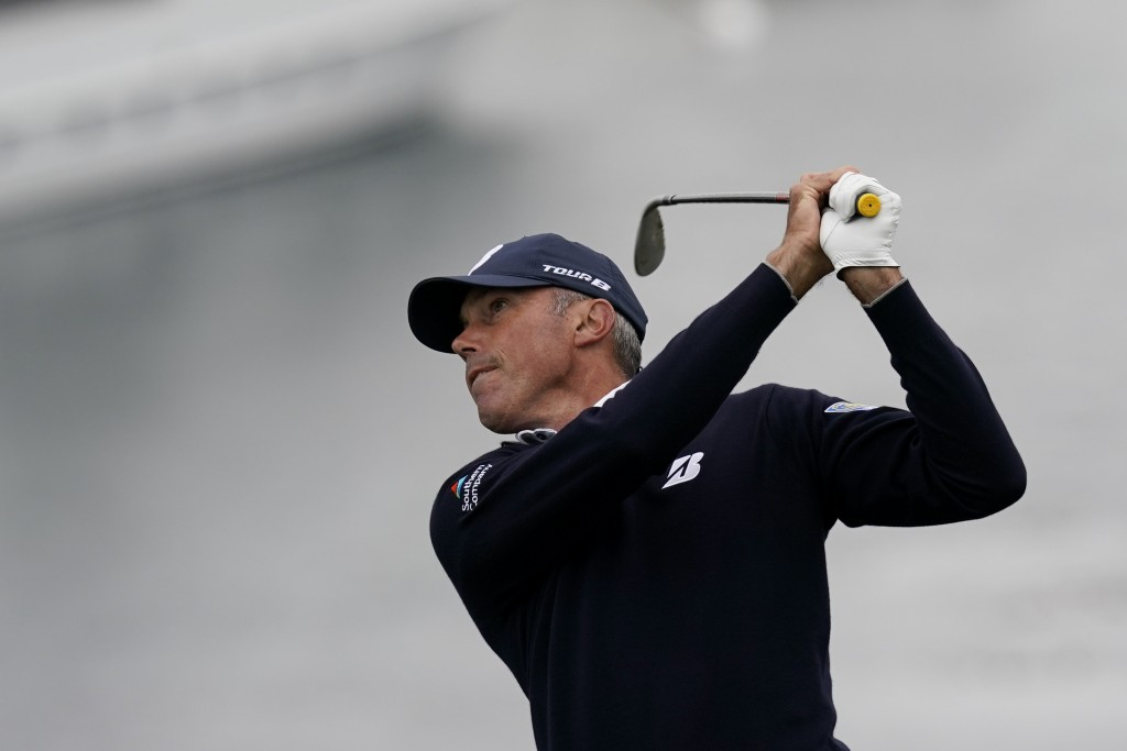 Matt Kuchar watches his tee shot on the seventh hole during the second round of the U.S. Open Championship golf tournament Friday, June 14, 2019, in P...