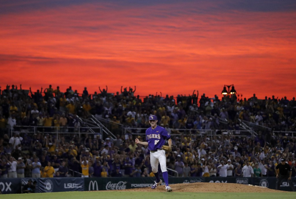 LSU pitcher Devin Fontenot (28) reacts after striking out the final Florida State batter in the ninth inning of Game 2 of the NCAA college baseball su...