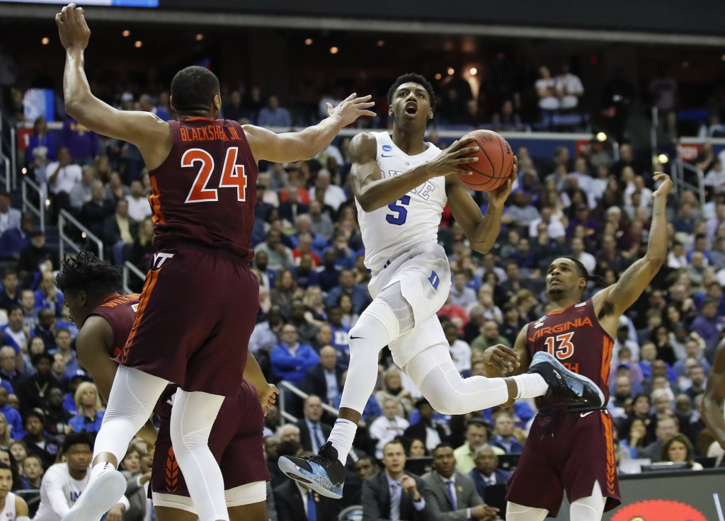 FILE - In this March 29, 2019, file photo,Duke fo...