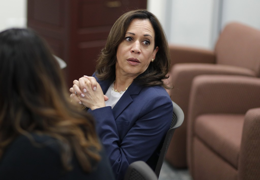 Democratic presidential candidate Sen. Kamala Harris, D-Calif., attends an immigration roundtable at the University of Nevada, Las Vegas, Friday, June...