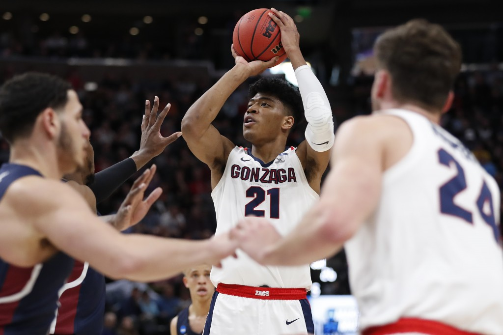 FILE - In this March 21, 2019, file photo, Gonzaga forward Rui Hachimura (21), of Japan, shoots against Fairleigh Dickinson during a first round men's