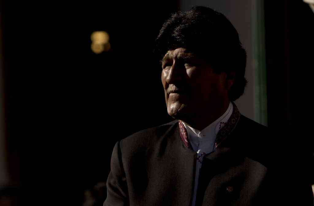 Bolivia's President Evo Morales listens to Paraguay's President Mario Abdo Benitez during a ceremony of commemoration of the 84th anniversary of the e...