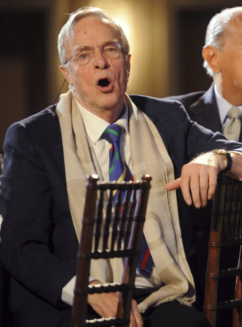 FILE - In this Monday, March 31, 2008 file photo, talian director and designer Franco Zeffirelli, left, reacts as various actors and singers are intro