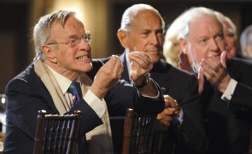 FILE - In this Monday, March 31, 2008 filer, Italian director and designer Franco Zeffirelli, left, reacts as various actors and singers he worked wit...