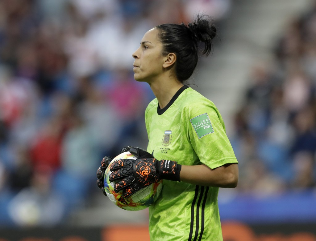 Argentina goalkeeper Vanina Correa holds the ball during the Women's World Cup Group D soccer match between England and Argentina at the Stade Oceane