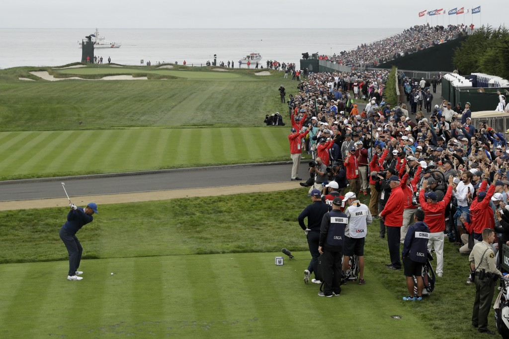Tiger Woods hits his tee shot on the 17th hole during the second round of the U.S. Open Championship golf tournament Friday, June 14, 2019, in Pebble