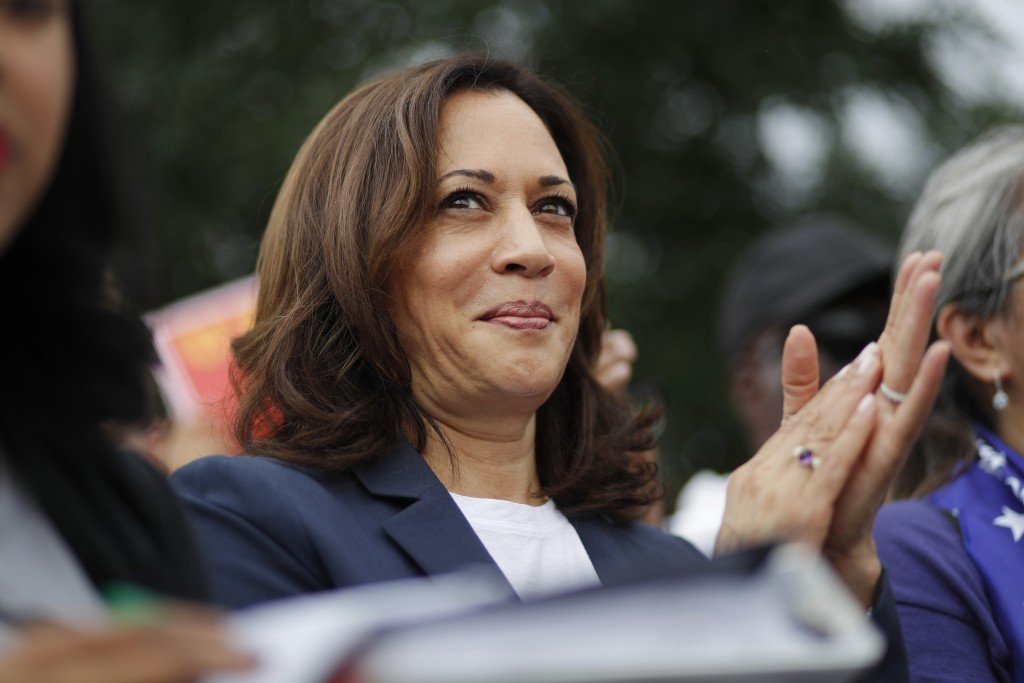 Democratic presidential candidate Sen. Kamala Harris, D-Calif., rallies with people protesting for higher minimum wage outside of McDonald's, Friday, ...