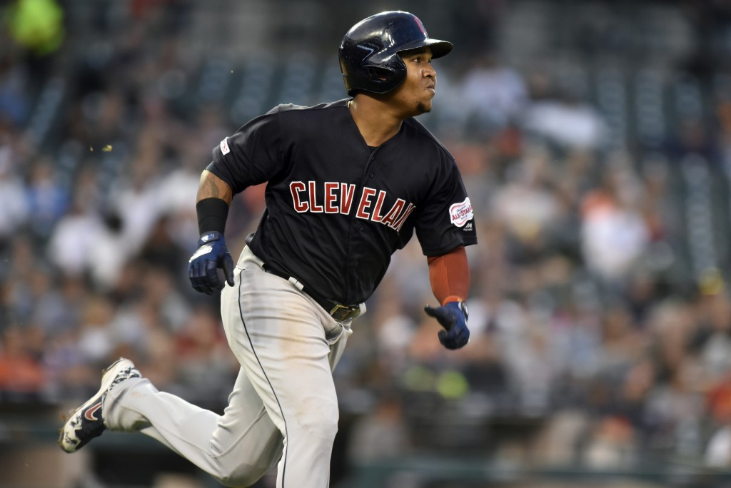 Cleveland Indians' Jose Ramirez runs after hitting a triple against the Detroit Tigers during the top of the fifth inning of a baseball game, Friday,