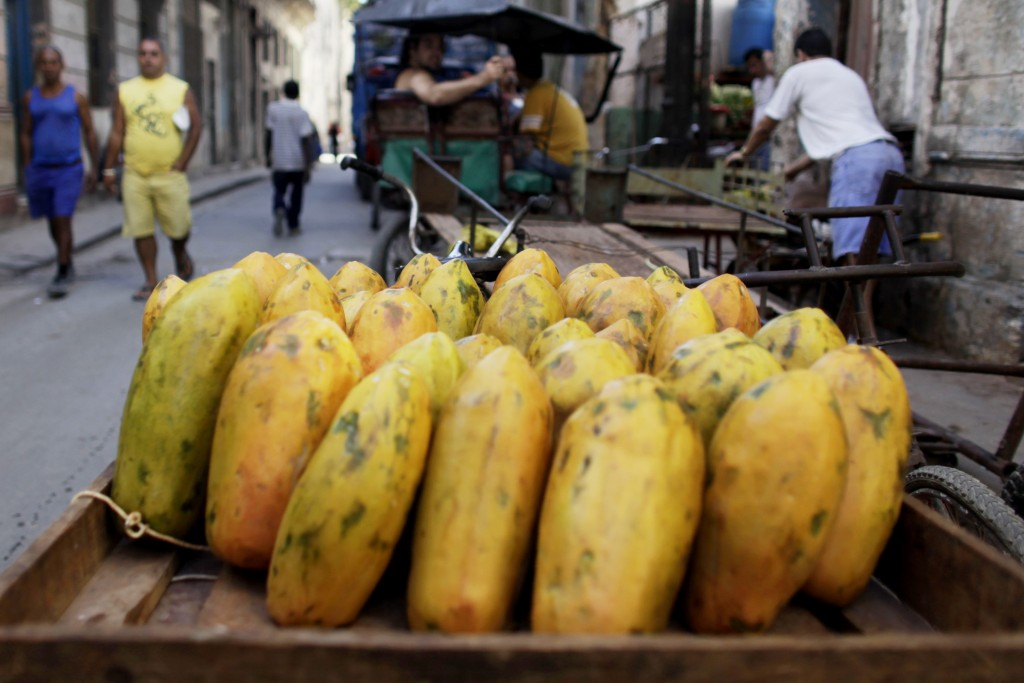 FILE - In this Wednesday, April 22, 2009 file photo, papayas sit on a cart at a public market in Old Havana, Cuba. On Friday, June 14, 2019, The Assoc