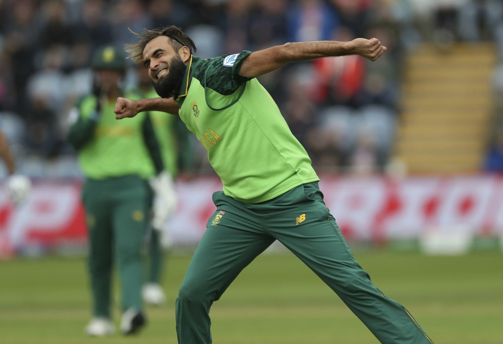 South Africa's Imran Tahir celebrates taking the wicket of of Afghanistan's Asghar Afghan during the ICC Cricket World Cup group stage match at The Ca...