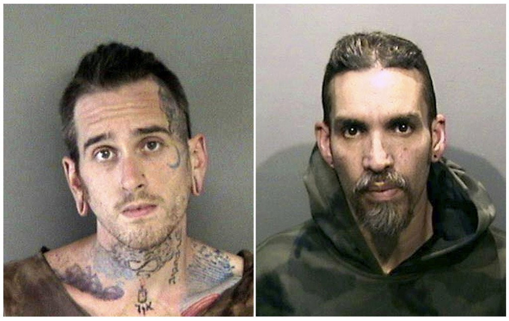 FILE - This combination of June 2017, file booking photos provided by the Alameda County Sheriff's Office shows Max Harris, left, and Derick Almena at