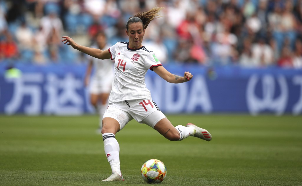 Spain's Virginia Torrecilla passes the ball during the Women's World Cup Group B soccer match between China and Spain at the Stade Oceane in Le Havre,...