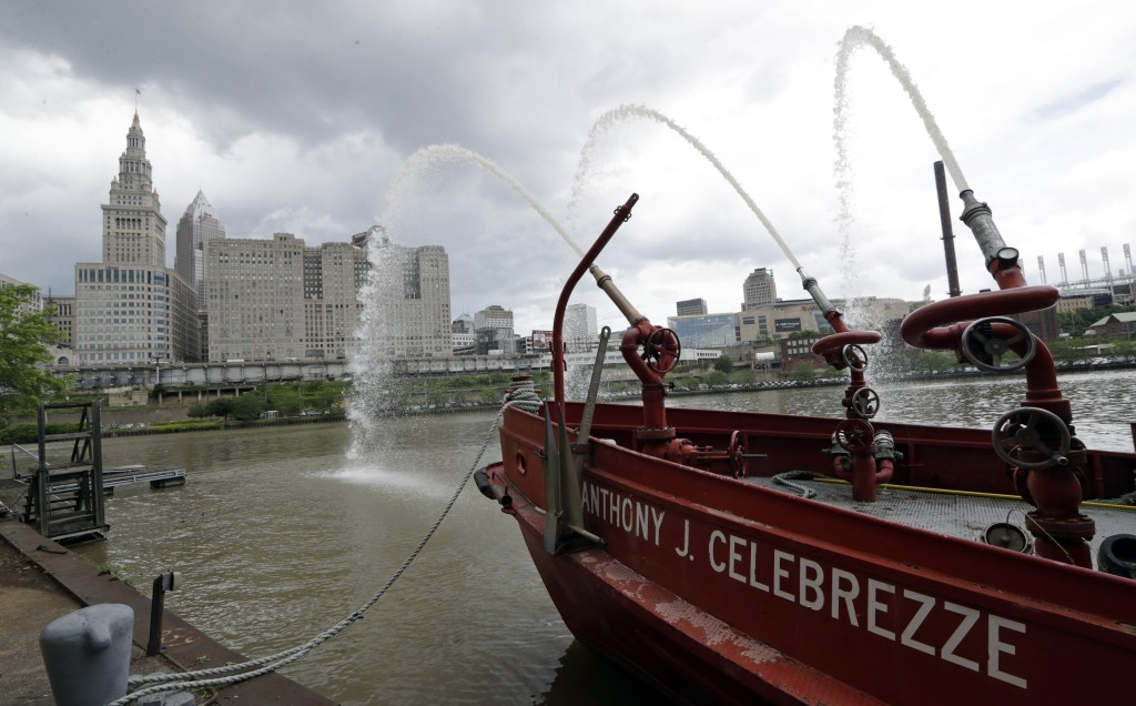The Anthony J. Celebrezze rests near Fire Station 21 on the Cuyahoga River, Thursday, June 13, 2019, in Cleveland. Fire Station 21 battles the fires o