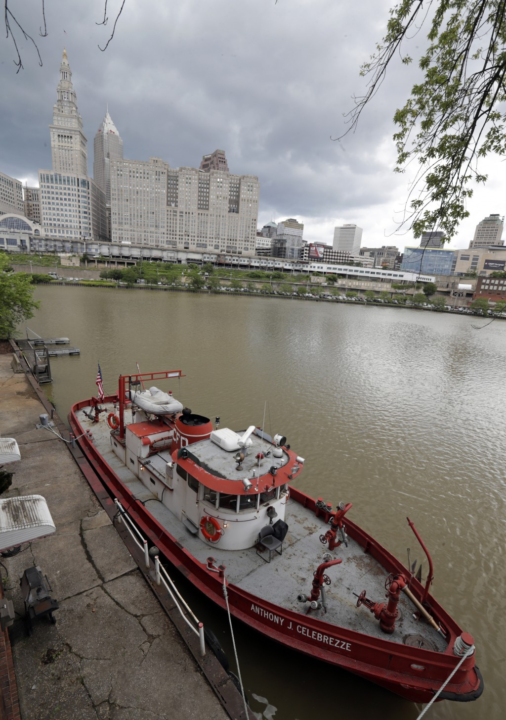 The Anthony J. Celebrezze rests on the Cuyahoga River, Thursday, June 13, 2019, in Cleveland. The fire boat extinguished hot spots on a railroad bridg