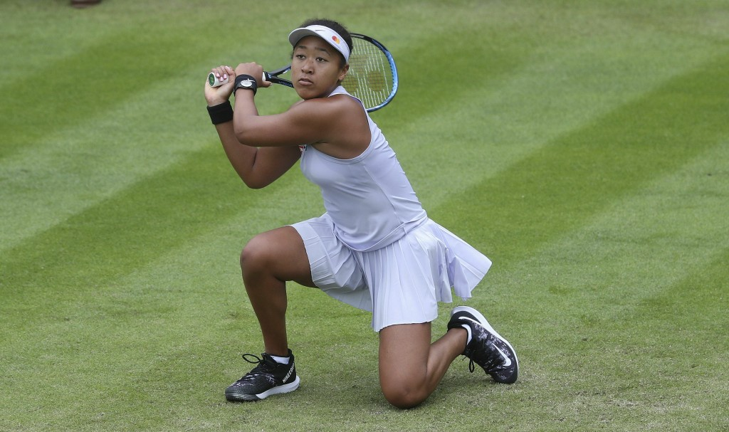 Japan's Naomi Osaka returns to Greece's Maria Sakkari during day four of the Nature Valley Classic at Edgbaston Priory Club, Birmingham, England, Tues