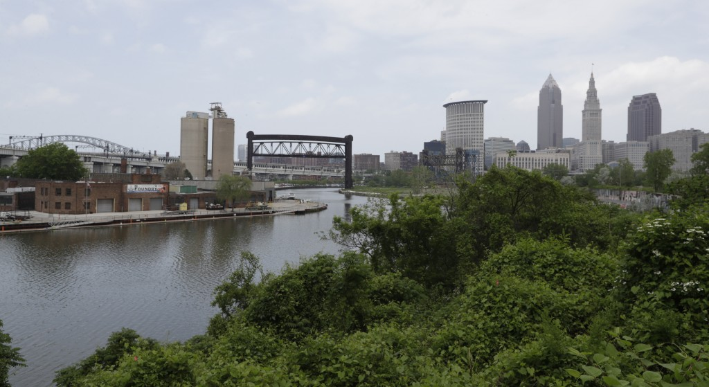 The Cuyahoga River winds it way toward Cleveland, Tuesday, May 28, 2019. Fifty years after the Cuyahoga River's famous fire, a plucky new generation o