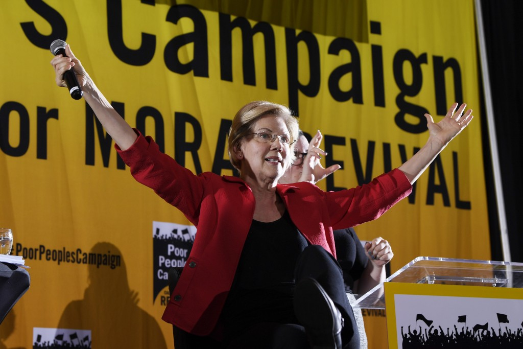Democratic presidential candidate Sen. Elizabeth Warren, D-Mass., speaks at the Poor People's Moral Action Congress presidential forum in Washington, ...