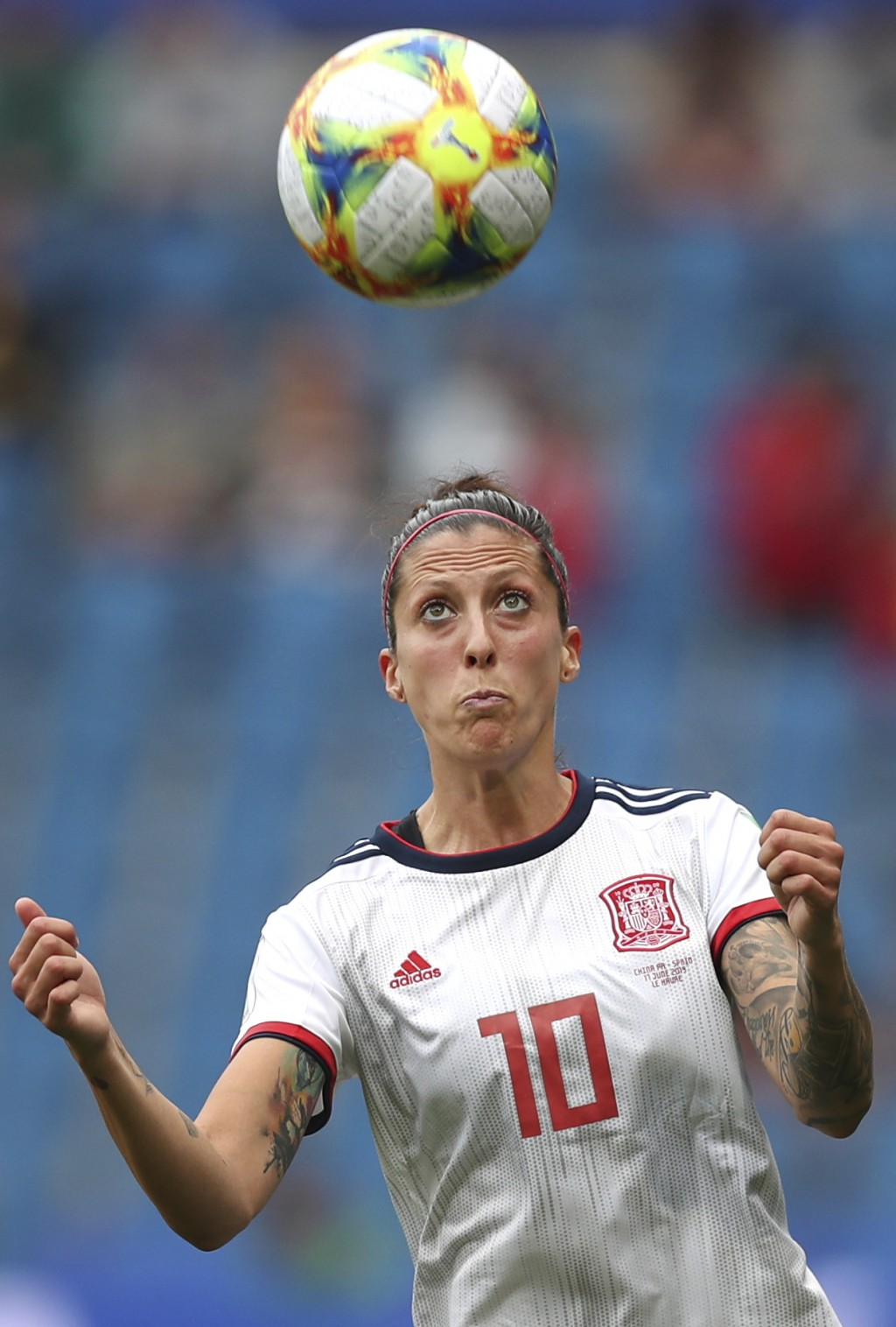 Spain's Jennifer Hermoso eyes the ball during the Women's World Cup Group B soccer match between China and Spain at the Stade Oceane in Le Havre, Fran...