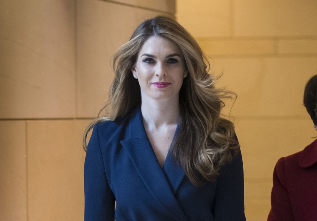 FILE - In this Feb. 27, 2018 photo, then-White House Communications Director Hope Hicks arrives to meet behind closed doors with the House Intelligenc...