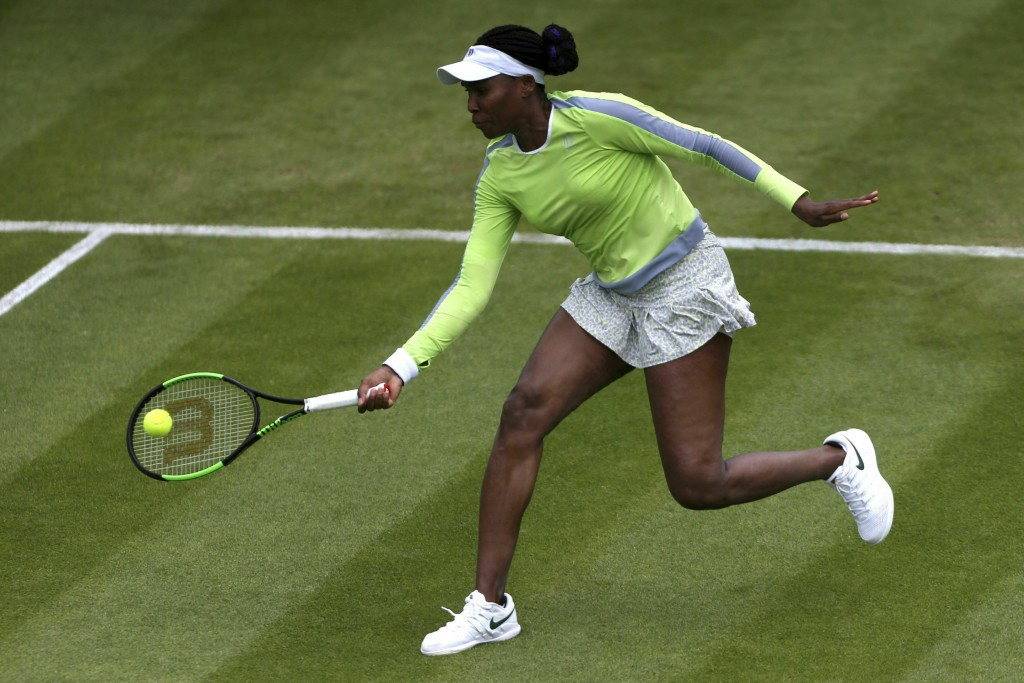 Venus Williams of the US returns a shot to Belarus' Aliaksandra Sasnovich, during day five of the Birmingham Classics, at Edgbaston Priory Club, in Bi