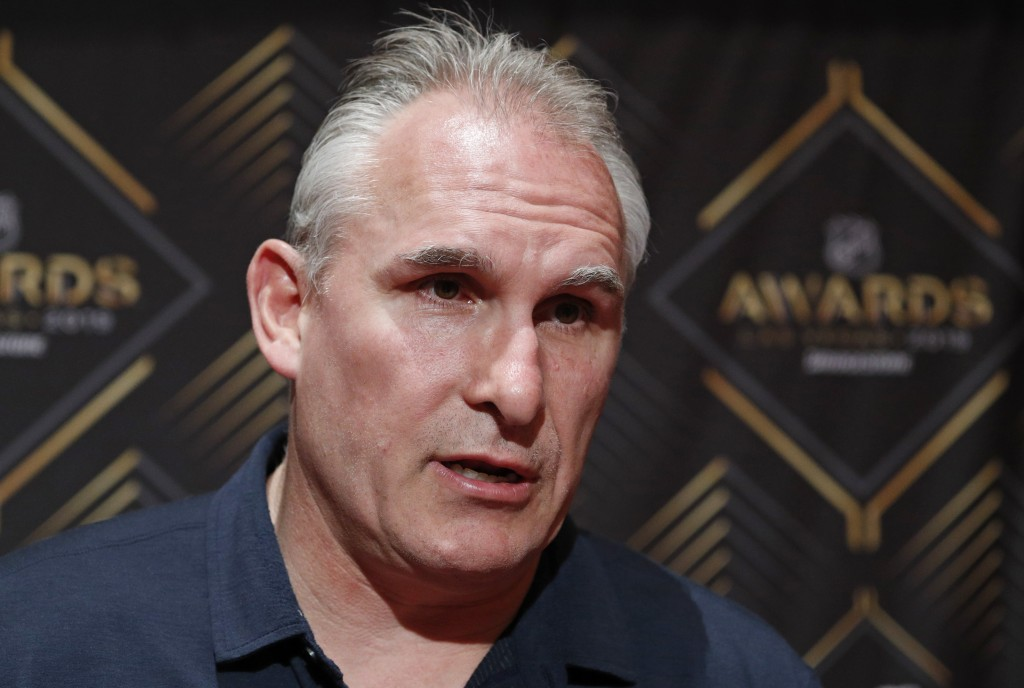 Craig Berube of the St. Louis Blues speaks with the media during a news conference for the NHL Awards, Tuesday, June 18, 2019, in Las Vegas. (AP Photo...