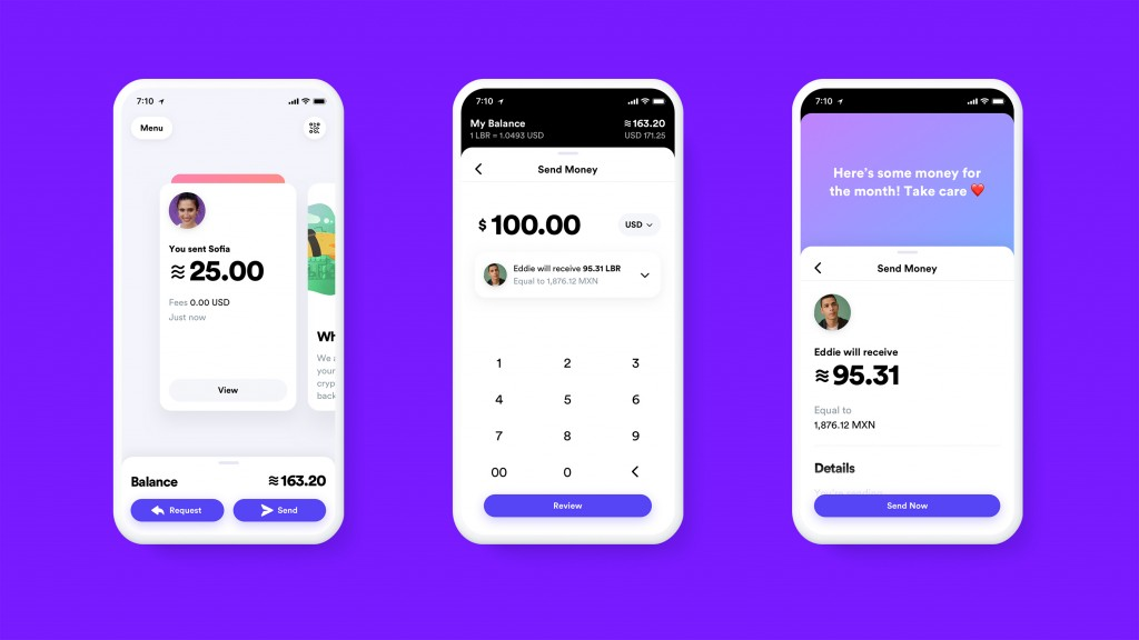 This undated image provided by Calibra shows what the Calibra digital wallet app might look like. Facebook formed the Calibra subsidiary to create a n