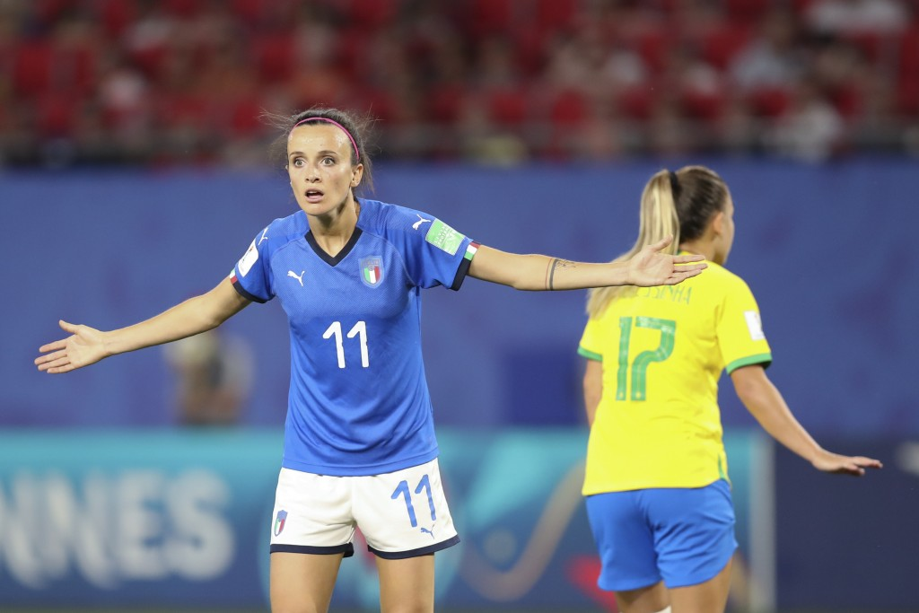Italy's Barbara Bonansea reacts during the Women's World Cup Group C soccer match between Italy and Brazil at the Stade du Hainaut in Valenciennes, Fr...