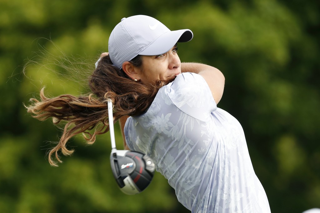 Maria Fassi, of Mexico, hits off the 10th tee during the first round of the KPMG Women's PGA Championship golf tournament, Thursday, June 20, 2019, in...