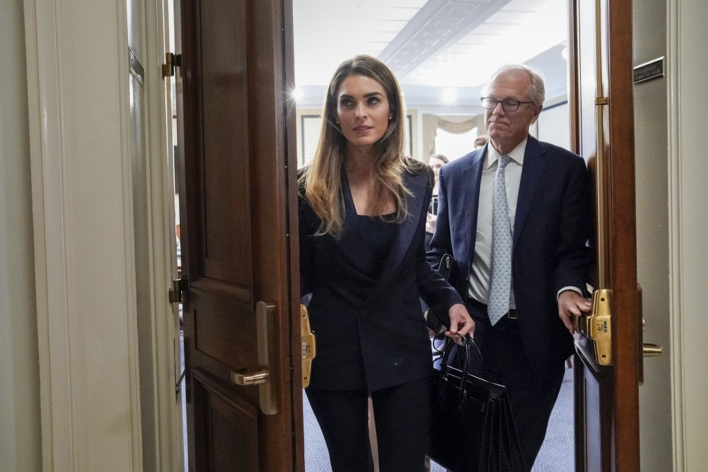 Former White House communications director Hope Hicks departs after a closed-door interview with the House Judiciary Committee on Capitol Hill in Wash...