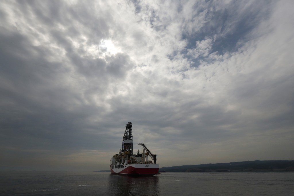 Turkey's 230-meter (750-foot) drillship 'Yavuz' crosses the Marmara Sea on its way to the Mediterranean, from the port of Dilovasi, outside Istanbul, ...