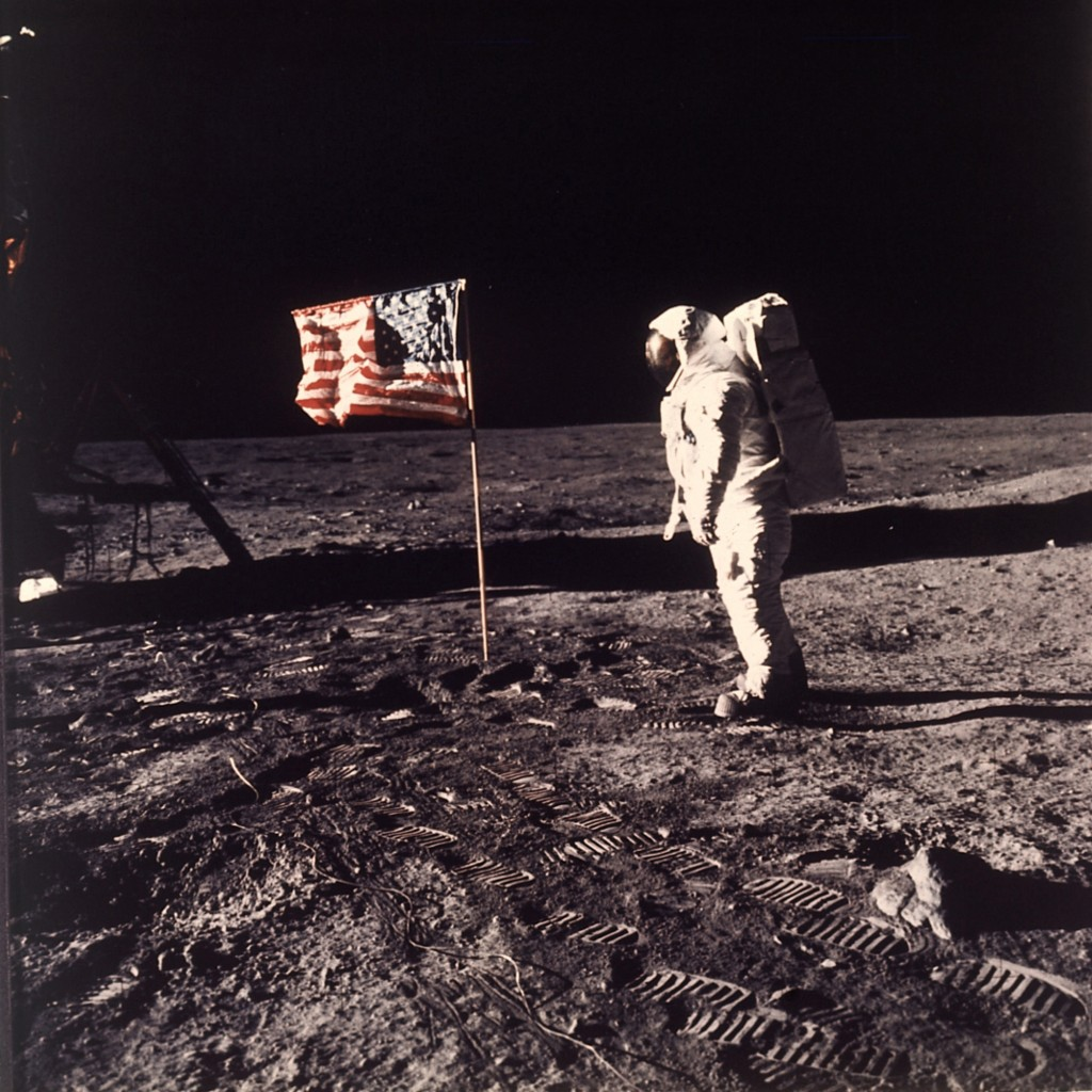 FILE - In this image provided by NASA, astronaut Buzz Aldrin poses for a photograph beside the U.S. flag deployed on the moon during the Apollo 11 mis