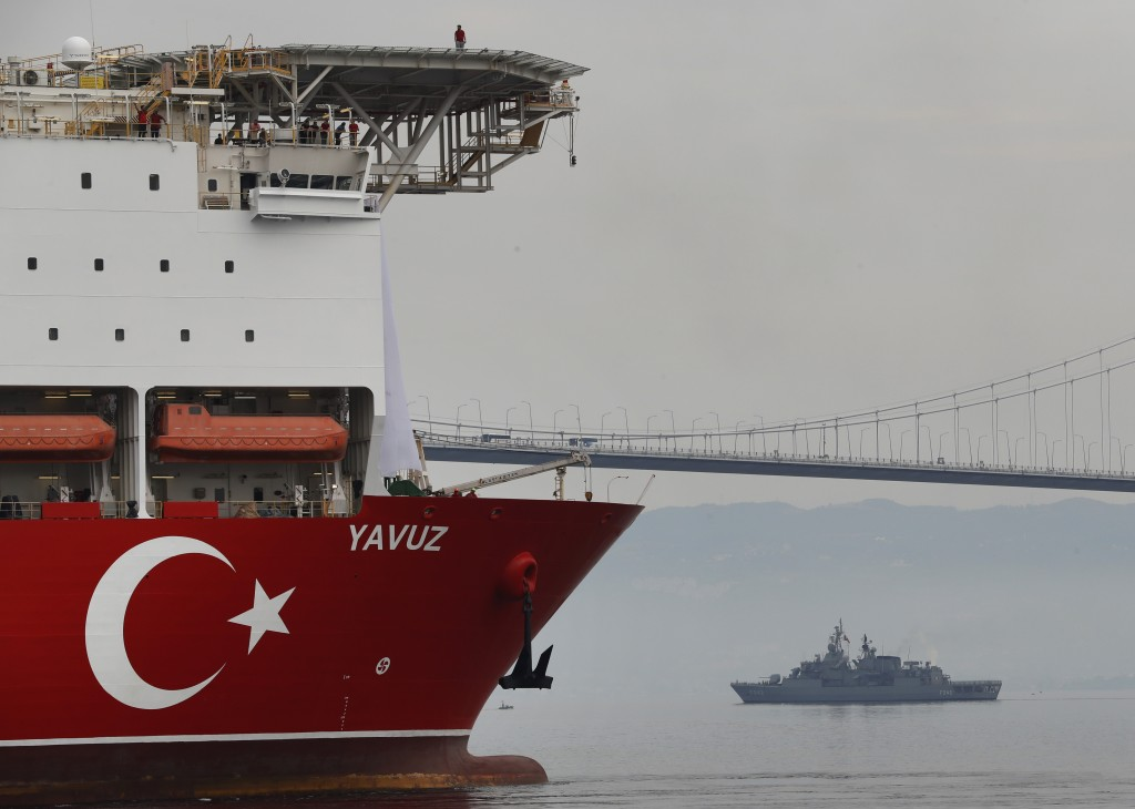 Turkey's 230-meter (750-foot) drillship 'Yavuz' escorted by a Turkish Navy vessel, crosses the Marmara Sea on its way to the Mediterranean, from the p...