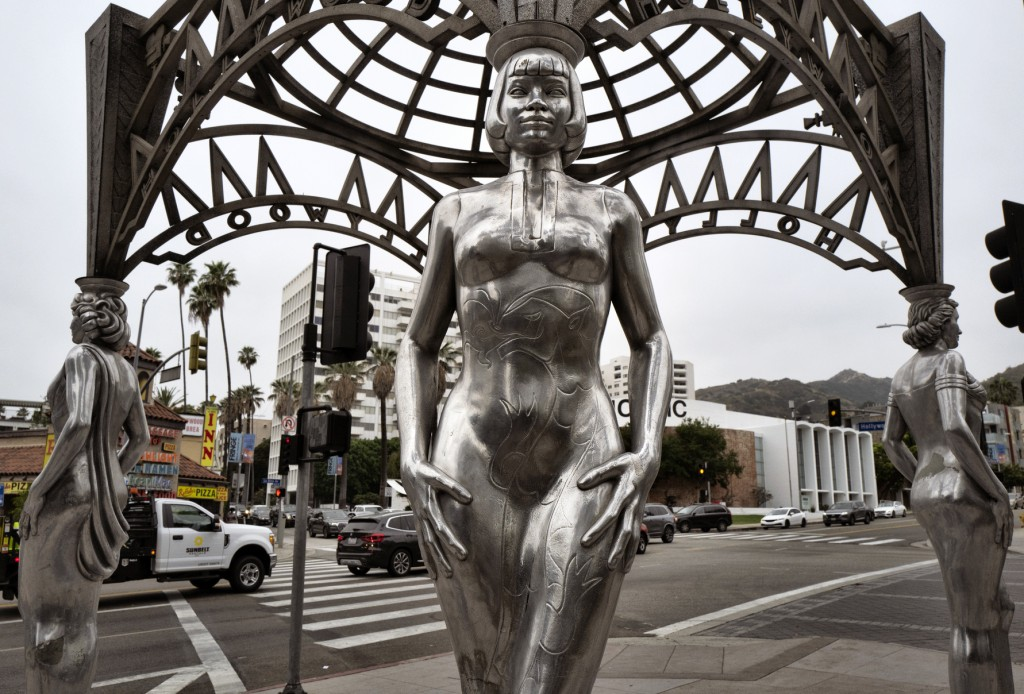 """Actress Anna May Wong is depicted as one of the structure's pillars of the  """"Four Ladies of Hollywood"""" gazebo on Hollywood Boulevard in Los Angeles, o"""