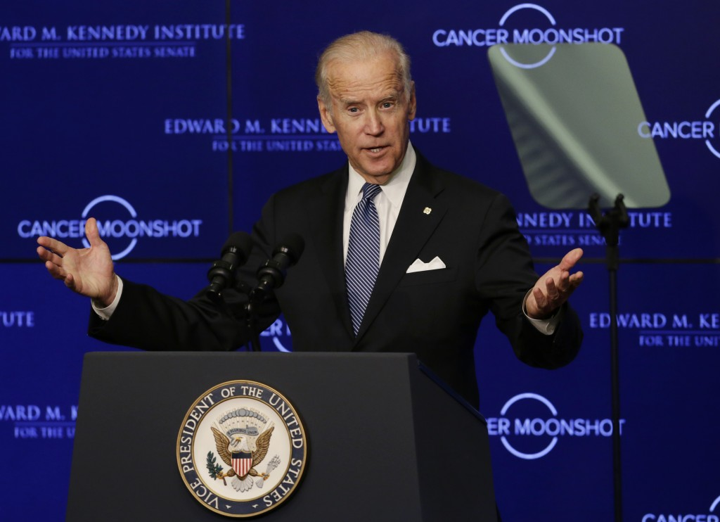 FILE - In this Oct. 18, 2016 file photo, Vice President Joe Biden speaks at the Edward M. Kennedy Institute for the United States Senate in Boston, ab