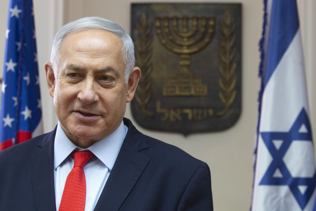 """Israeli Prime Minister Benjamin Netanyahu speaks at the Prime Minister's office in Jerusalem, Thursday, June 20, 2019. Netanyahu is calling for """"all p..."""