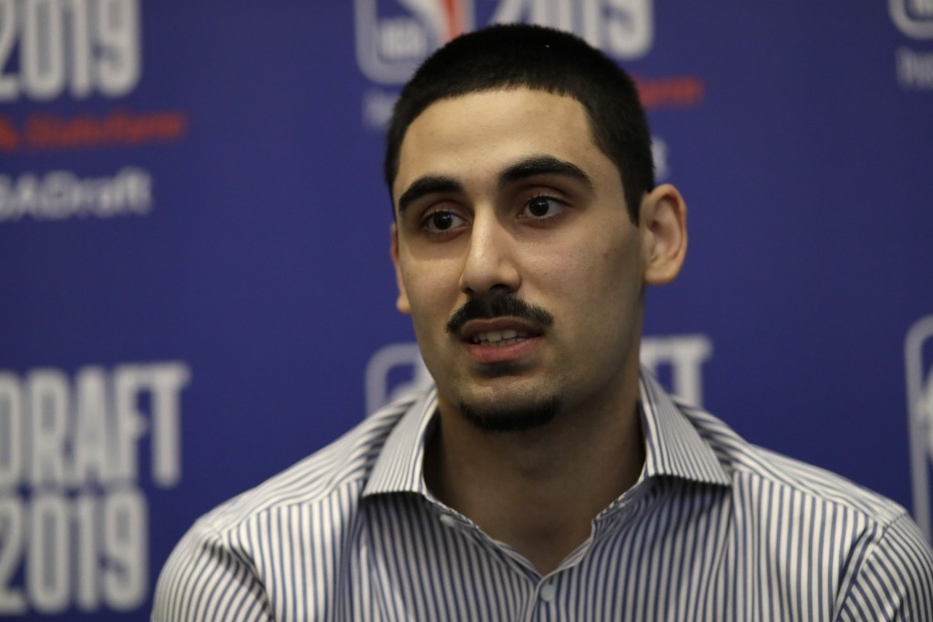 Goga Bitadze, from the Republic of Georgia, attends the NBA Draft basketball media availability, Wednesday, June 19, 2019, in New York. The draft will...