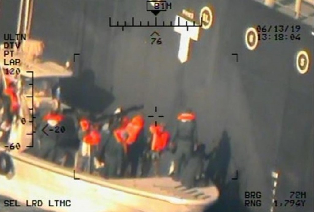 FILE - This file image released by the U.S. Department of Defense Monday, June 17, 2019, and taken from a U.S. Navy helicopter, shows what the Navy sa...