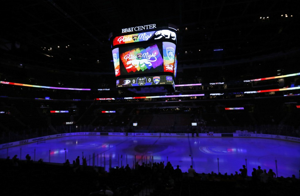 """In this Feb. 3, 2017, photo, the scoreboard shows """"Pride Night,"""" before the start of an NHL hockey game between the Florida Panthers and the Anaheim D..."""