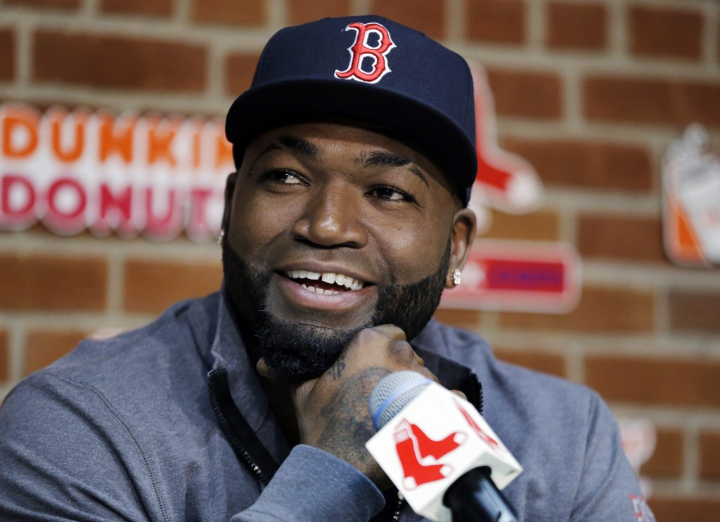 FILE - In this Sept. 30, 2016, file photo, Boston Red Sox's David Ortiz speaks during a news conference before a baseball game against the Toronto Blu...