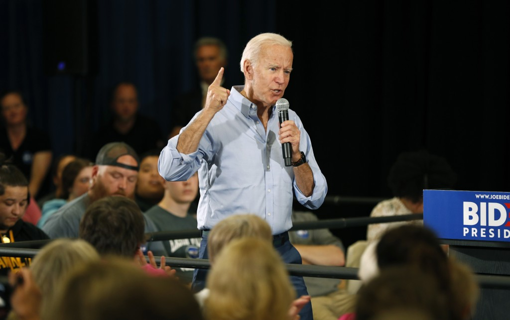 FILE - In this June 12, 2019, file photo, Democratic presidential candidate former Vice President Joe Biden speaks at Clinton Community College in Cli...