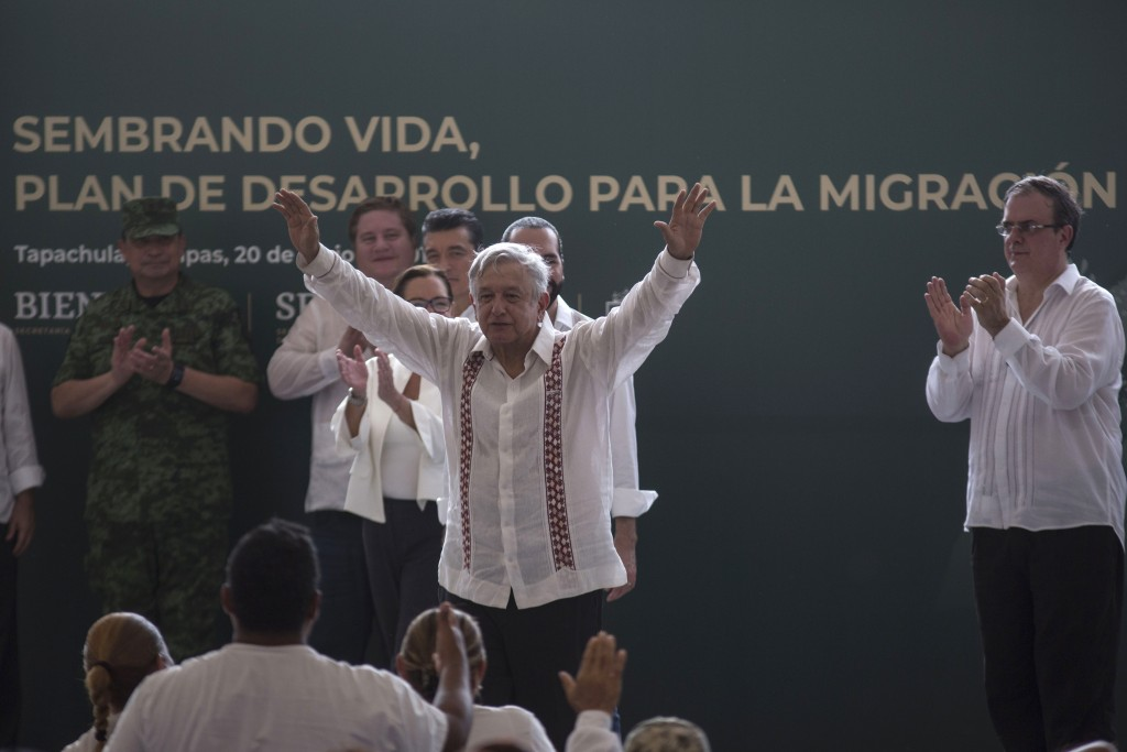 Mexican President Andres Manuel Lopez Obrador gestures during an event with El Salvadorian President Nayib Bukele, not in picture, at a military natur...