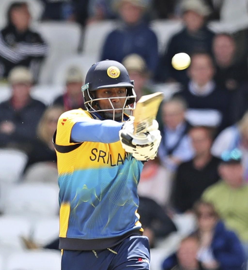 Sri Lanka's Angelo Mathews bats during the Cricket World Cup match between England and Sri Lanka in Leeds, England, Friday, June 21, 2019. (AP Photo/J...