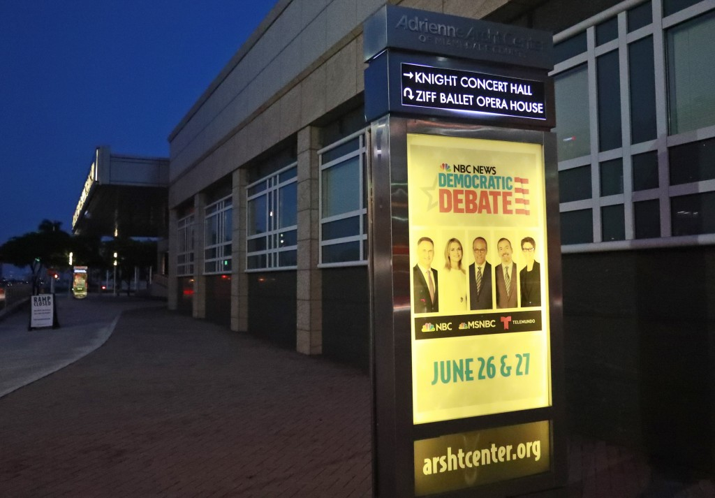 A sign outside the Knight Concert Hall at the Adrienne Arsht Center for the Performing Arts of Miami-Dade County announces the upcoming Democratic Pre...
