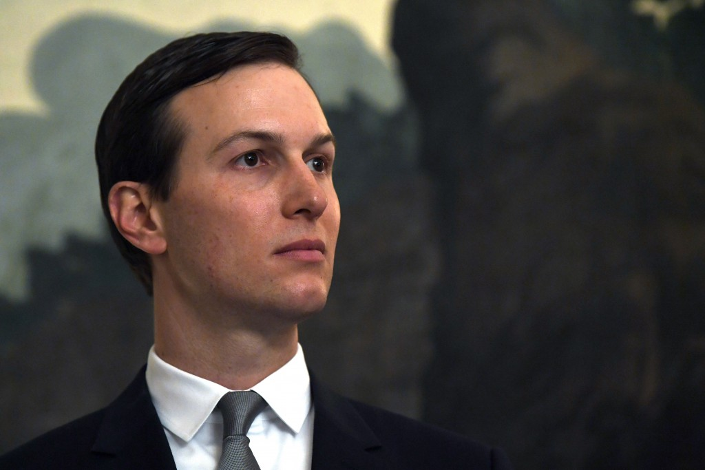FILE - In this March 25, 2019, file photo White House adviser Jared Kushner listens during a proclamation signing with President Donald Trump and Isra...