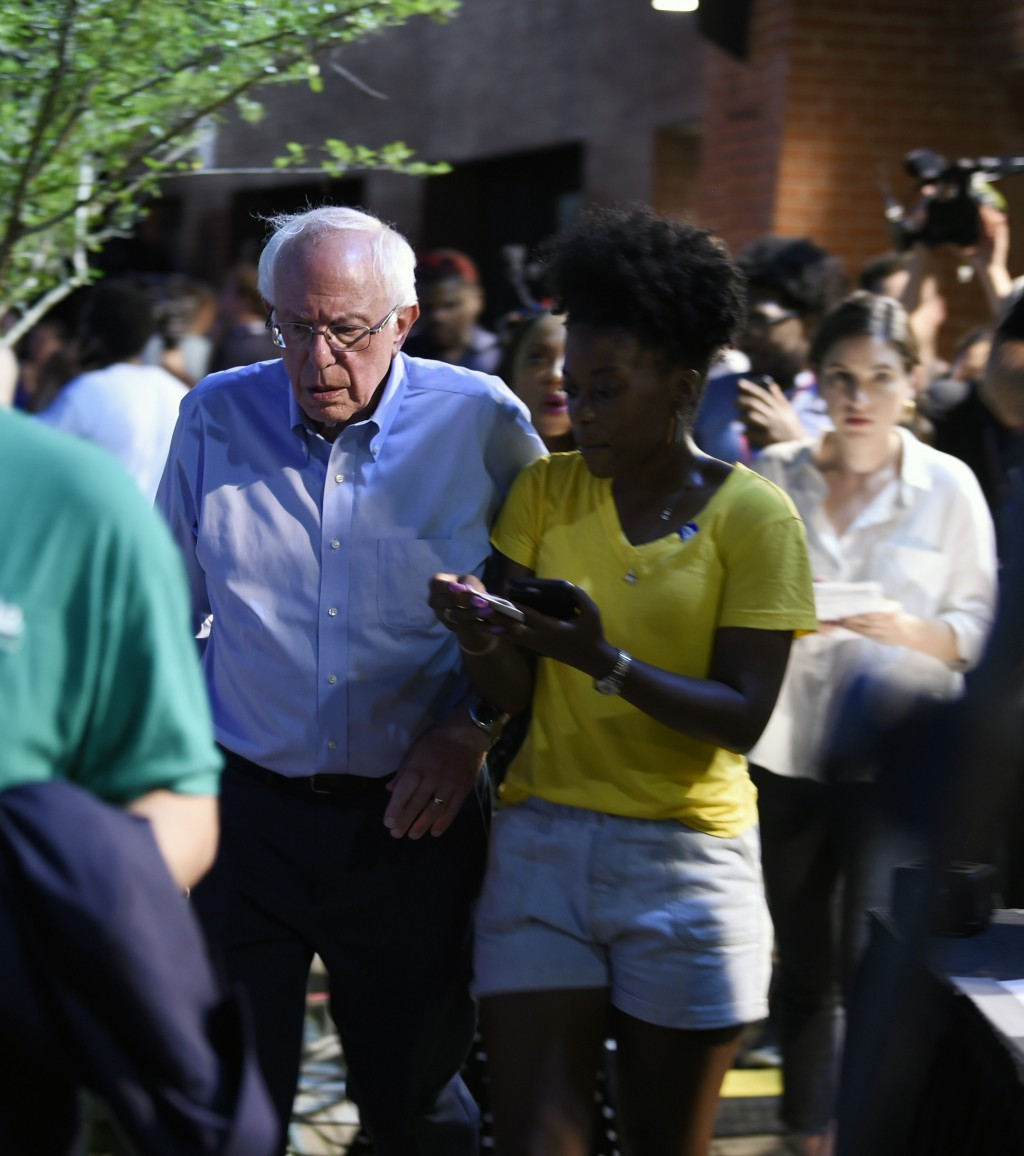 "Vermont Sen. Bernie Sanders arrives at Majority Whip Jim Clyburn's ""World Famous Fish Fry"" on Friday, June 21, 2019, in Columbia, S.C. The event has b..."