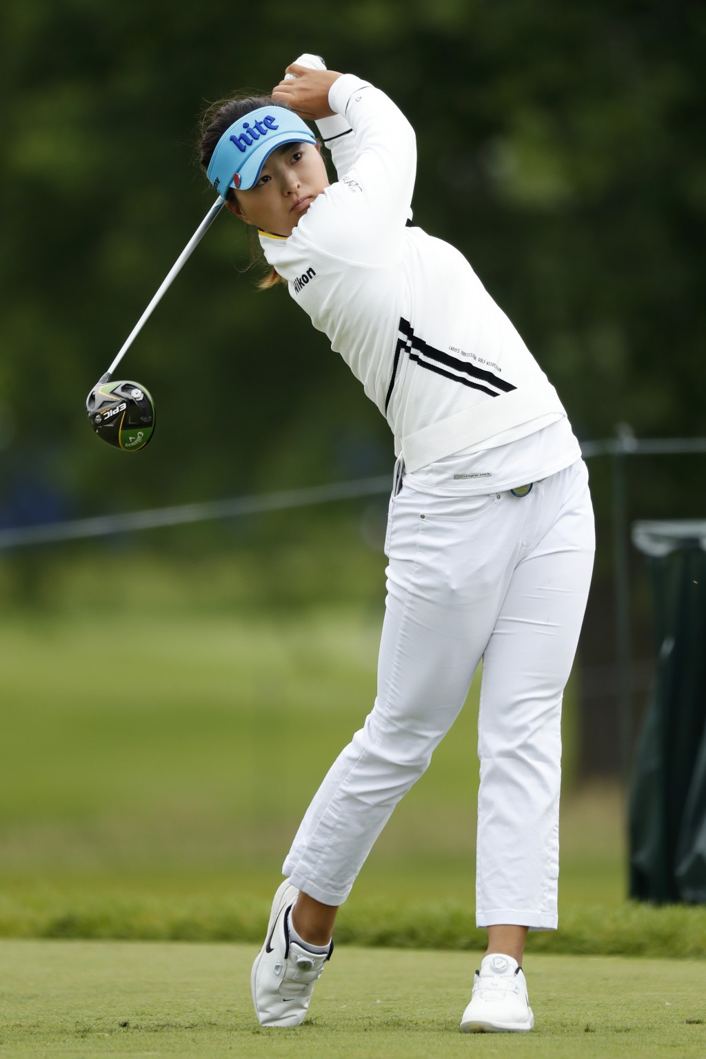 Jin Young Ko, of South Korea, hits off the 12th tee during the second round of the KPMG Women's PGA Championship golf tournament, Friday, June 21, 201...