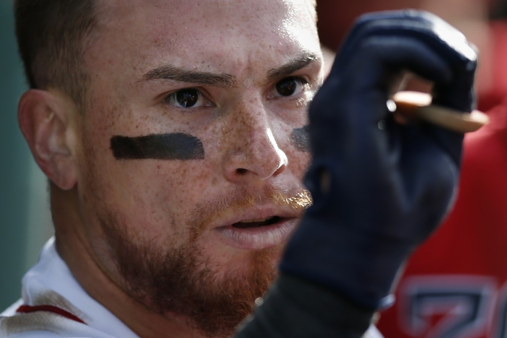 Boston Red Sox's Christian Vazquez celebrates his solo home run during the third inning of the team's baseball game against the Toronto Blue Jays in B...