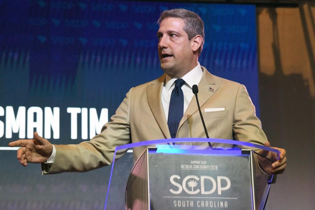 Ohio Congressman Tim Ryan addresses the South Carolina Democratic Party Convention, Saturday, June 22, 2019 in Columbia, S.C.. (AP Photo/Meg Kinnard)