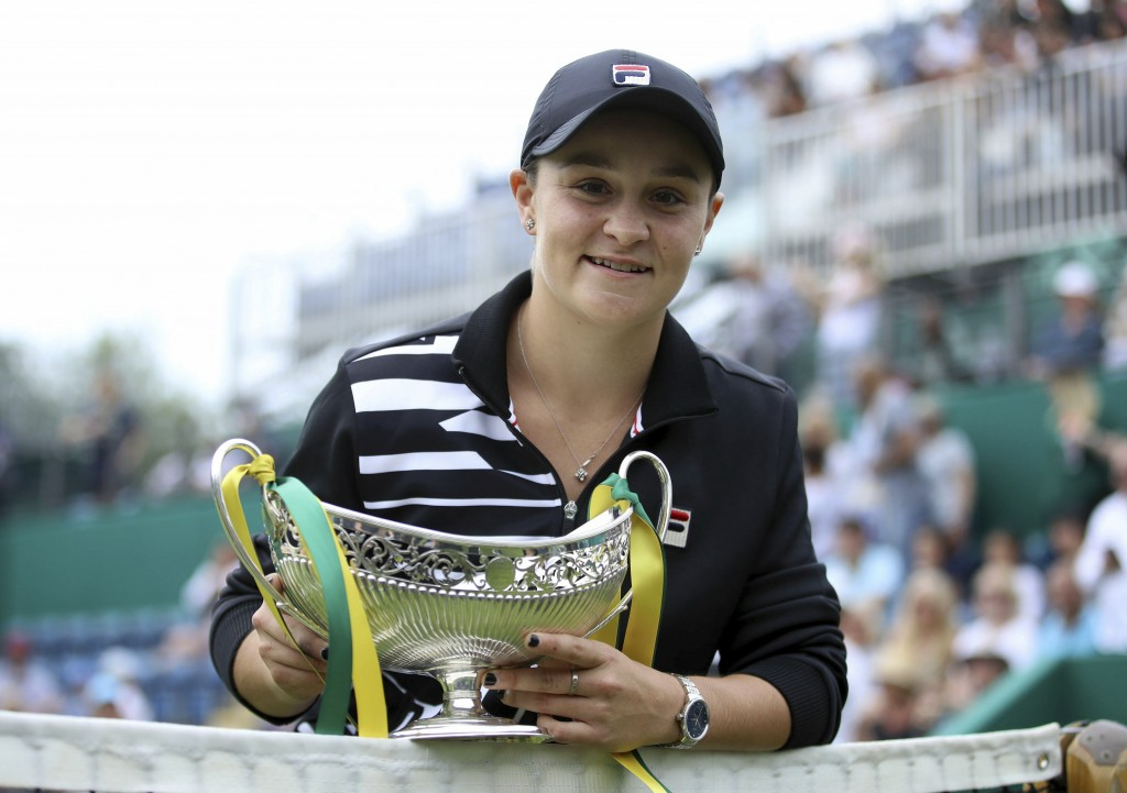Australia's Ashley Barty poses with the trophy after beating Germany's Julia Goerges during the final match of the Nature Valley Classic at Edgbaston ...
