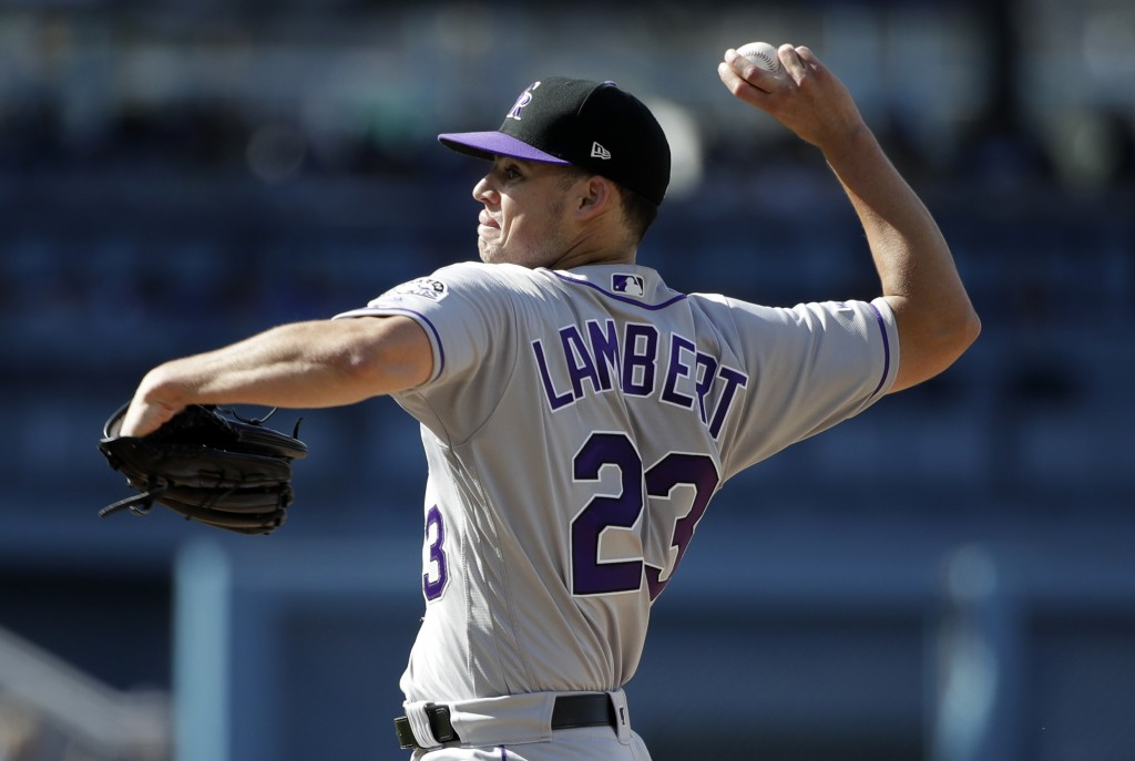 Colorado Rockies starting pitcher Peter Lambert throws to a Los Angeles Dodgers during the third inning of a baseball game Saturday, June 22, 2019, in...
